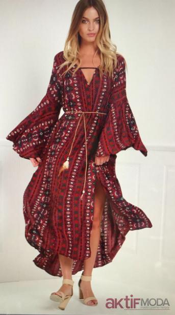 2019 Bohem Giyim Tarzı Uzun Elbise