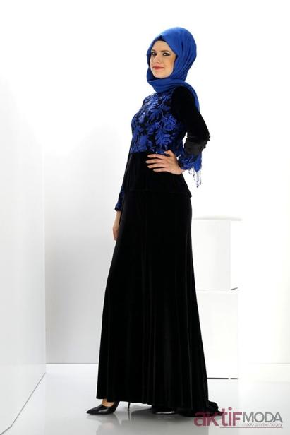 2019 Kış Siyah Tesettür Elbise Modelleri
