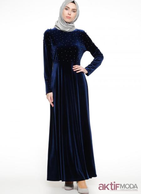 Boncuklu Tesettür Kloş Elbise Modelleri