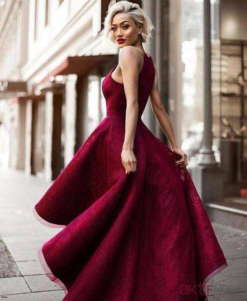 Bordo Abiye Elbise Modelleri 2019