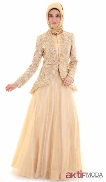 Ceketli Tesettür Abiye Elbise Modelleri 2019