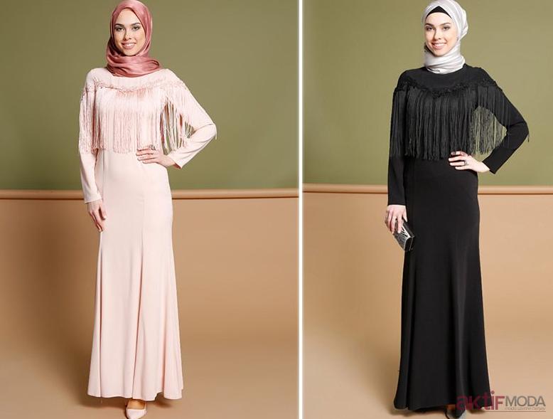 Dökümlü Tesettür Elbise Modelleri 2019