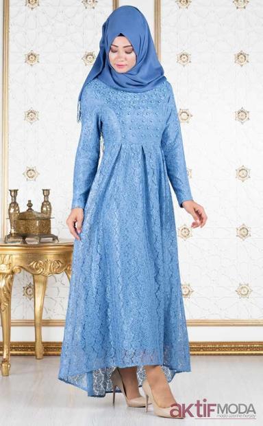 Dantelli Tesettür Abiye Elbise Modelleri 2019