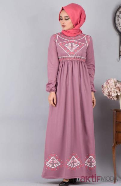 Desenli Tesettür Elbise Modelleri 2019