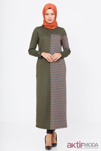 Haki Renkli Tesettür Elbise Modelleri 2019