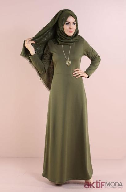 Haki Tesettür Elbise Modelleri 2019