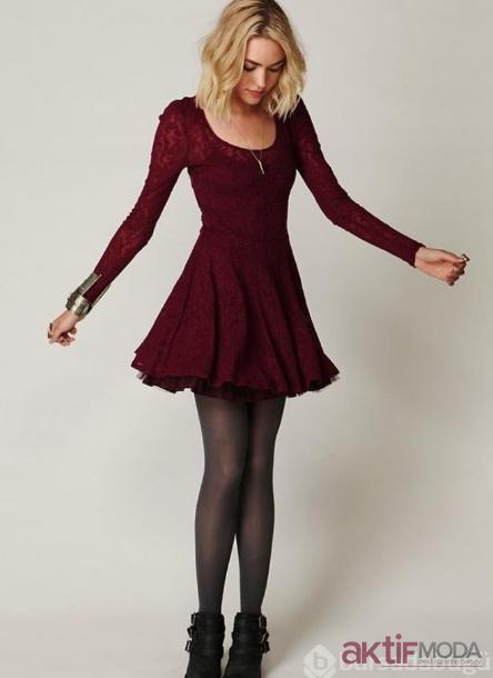 Kırmızı Dantelli Yılbaşı Elbise Modelleri 2019