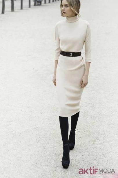 Kemerli Triko Elbise Modelleri 2019