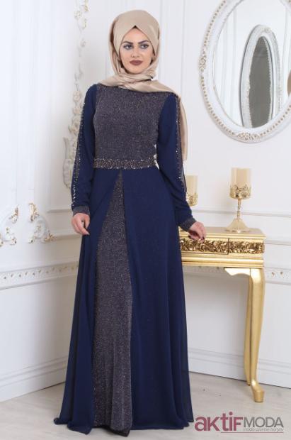Koyu Mavi Tesettür Abiye Elbise Modelleri 2019
