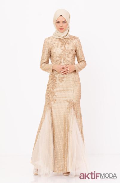 Krem Tesettür Abiye Elbise Modelleri 2019