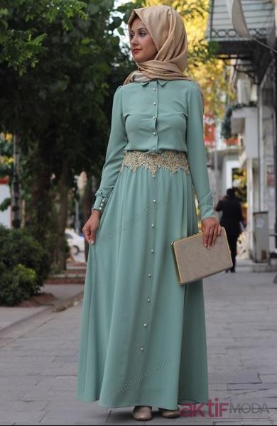 Mavi Renkli Kemerli Tesettür Elbise Modelleri 2019