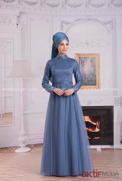 Mavi Tesettür Abiye Elbise Modelleri 2019