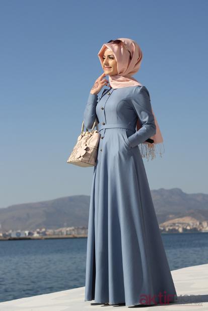 Mavi Tesettür Elbise Modelleri 2019