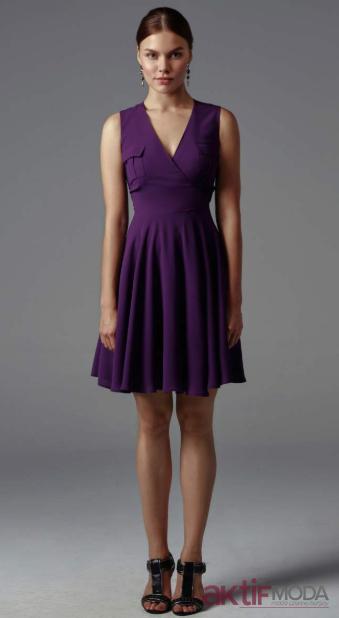 Mor Kloş Elbise Modelleri 2019