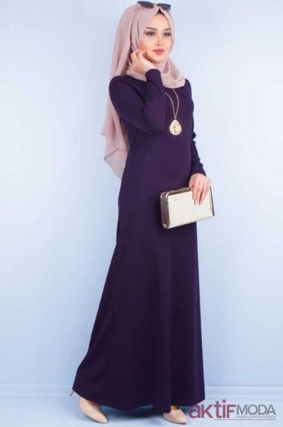 Mor Tesettür Elbise Modelleri 2019