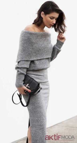 Omuz Dekolteli Kış Elbise Modelleri 2019