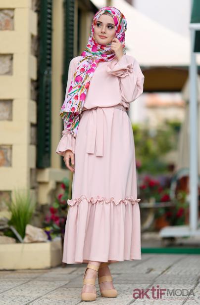 Pembe Tesettür Elbise Modelleri 2019