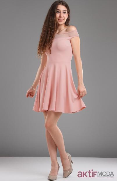 157b3f37e56d7 Pudra Kloş Elbise Modelleri 2019 - Aktif Moda - Aktif Moda