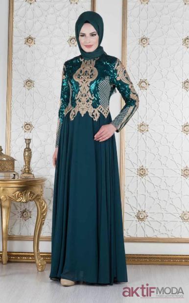 Pul İşlemeli Tesettür Abiye Elbise Modelleri 2019
