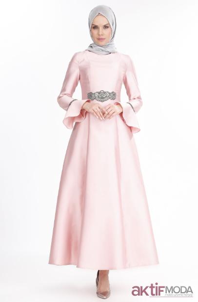 Saten Tesettür Abiye Elbise Modelleri 2019