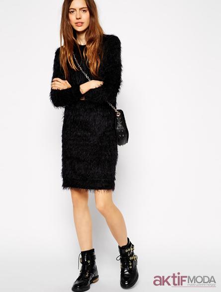 Tüylü Triko Elbise Modelleri 2019
