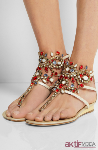 Taşlı Sandalet Modelleri 2019