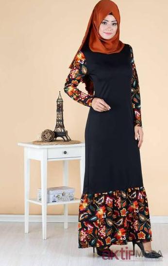 Tesettür Çiçekli Elbise Modelleri 2019