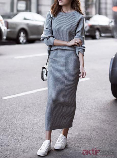Uzun Triko Elbise Modelleri