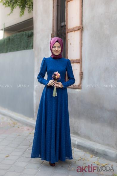 Vatkalı Tesettür Abiye Elbise Modelleri 2019