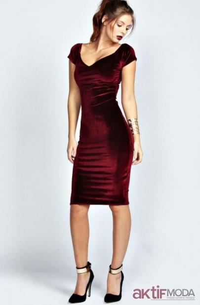 Yılbaşı Kadife Elbise Modelleri 2019
