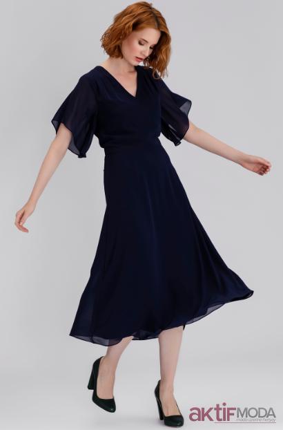 Yarım Kollu Kloş Elbise Modelleri 2019