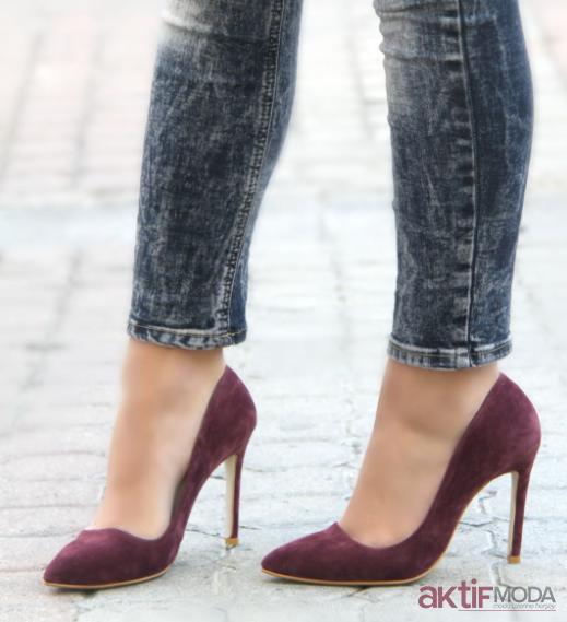 2019 Süet Stiletto Ayakkabı Modelleri