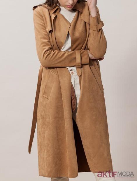 Camel Deri Trençkot Modelleri 2019