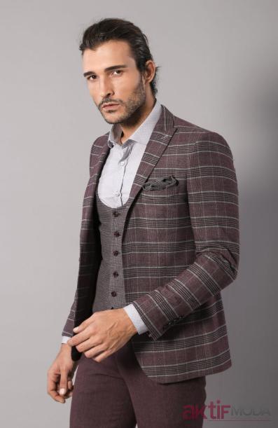 Koyu Renkli Ekose Takım Elbise Modelleri 2020