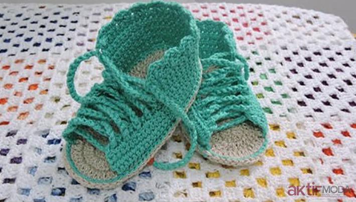 Örgü Bebek Sandalet Modelleri 2019
