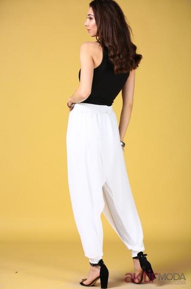 Beyaz Şalvar Pantolon Modelleri 2019