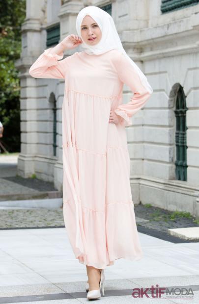 Pudra Tesettür Elbise Modelleri 2019