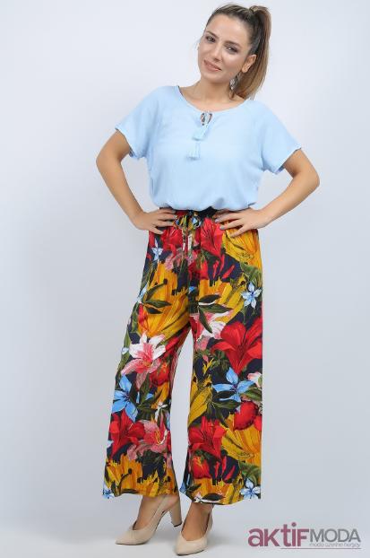 Renkli Çiçekli Şalvar Pantolon Modelleri 2019