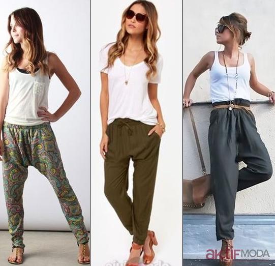 Yeşil Şalvar Pantolon Modelleri 2019