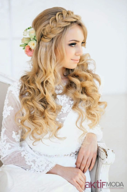 2019 Gelin Uzun Saç Modelleri
