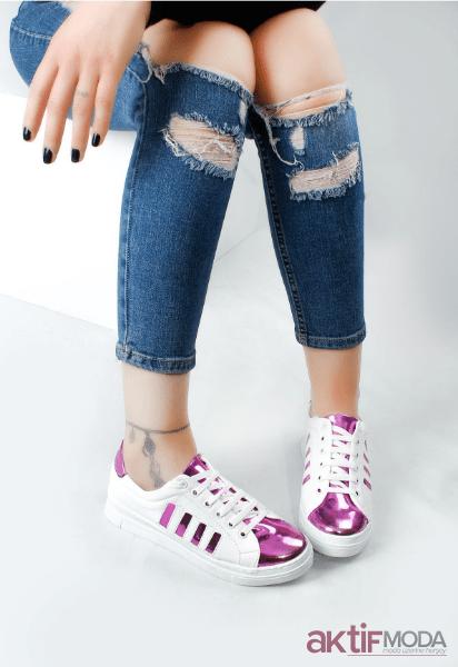 2019 Kadın Parlak Spor Ayakkabı Modelleri