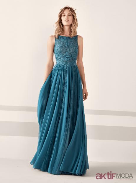 2019 Yazlık Mavi Abiye Modelleri