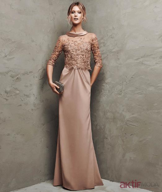Bej Saten Elbise Modelleri 2019