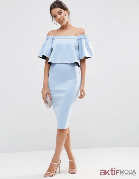 Düşük Omuzlu Abiye Elbise Modelleri 2020