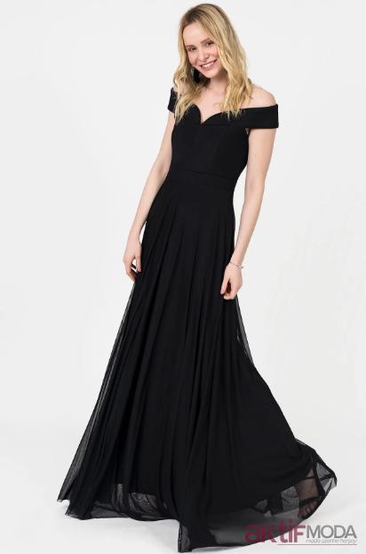 Düşük Omuzlu Abiye Elbise Modelleri 2019