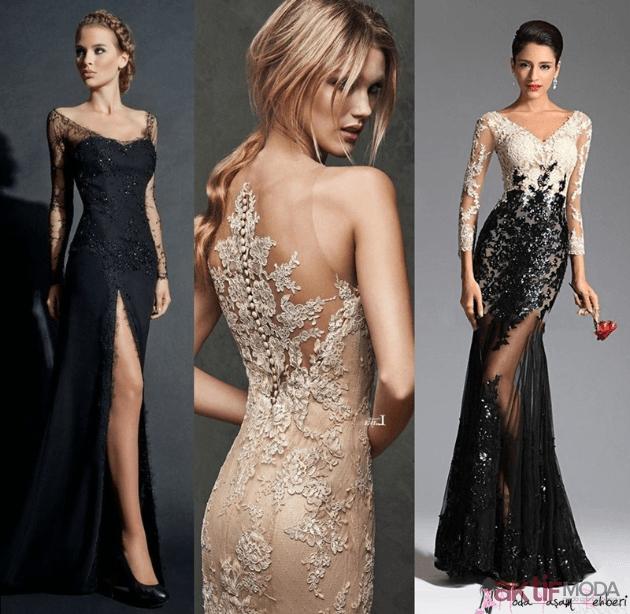 Farklı Dantelli Abiye Elbise Modelleri 2019