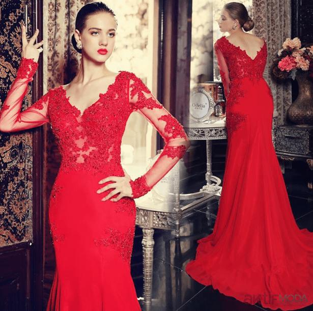 Kırmızı Dantel Abiye Elbise Modelleri 2019