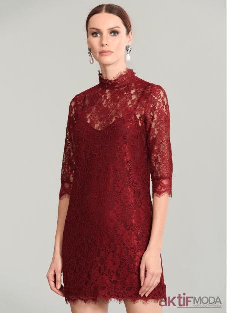 Kırmızı Dantel Abiye Modelleri 2019