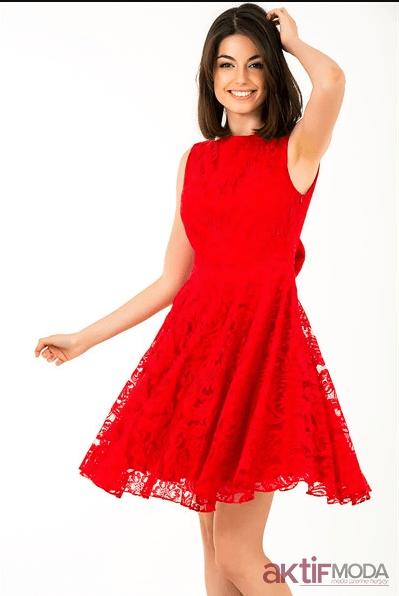 Kırmızı Genç Abiye Modelleri 2019