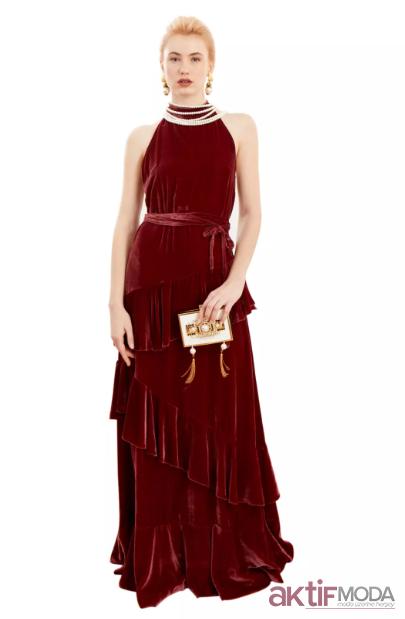 Kırmızı Kadife Elbise Modelleri 2019